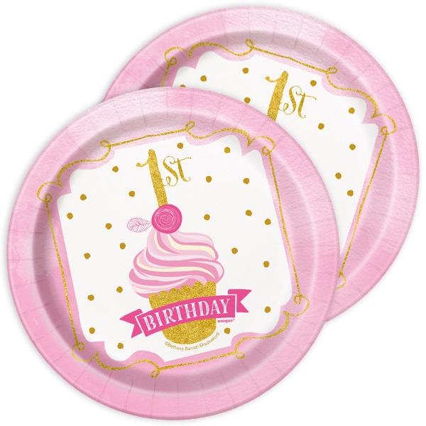 """8 Kuchenteller """"1st Birthday"""" in pink & gold für 1. Geburtstag Mädchen, 17,5cm"""