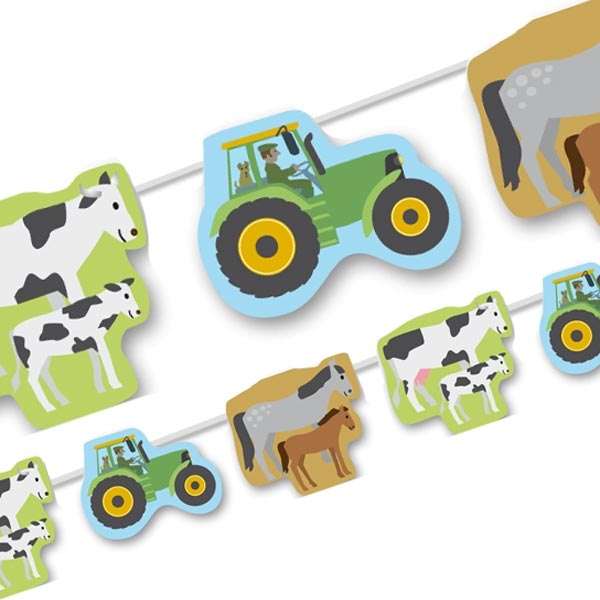 Wimpelkette Bauernhof, mit Kühen, Pferden, Traktoren, 3,5m, Papier