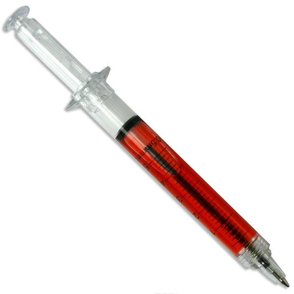 Spritzen-Kugelschreiber, spitze Scherzartikel, 12,8cm