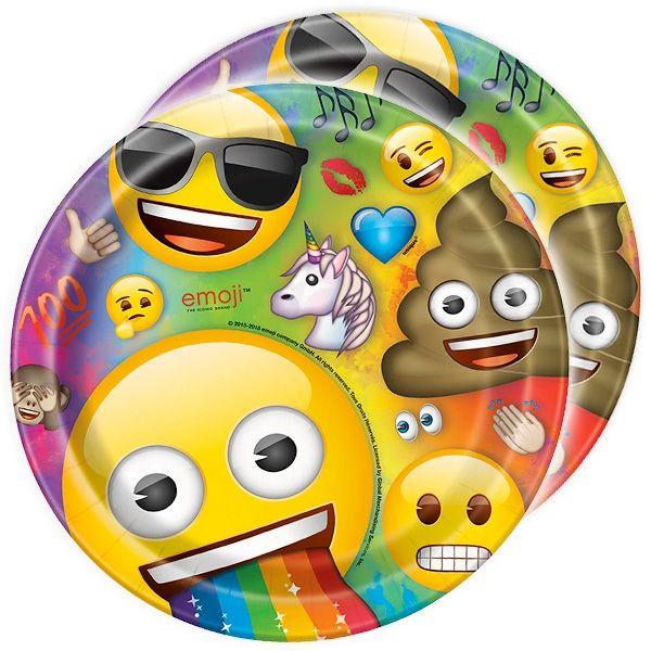 Emoji Rainbow Fun Partyteller im 8er Pck, 22cm