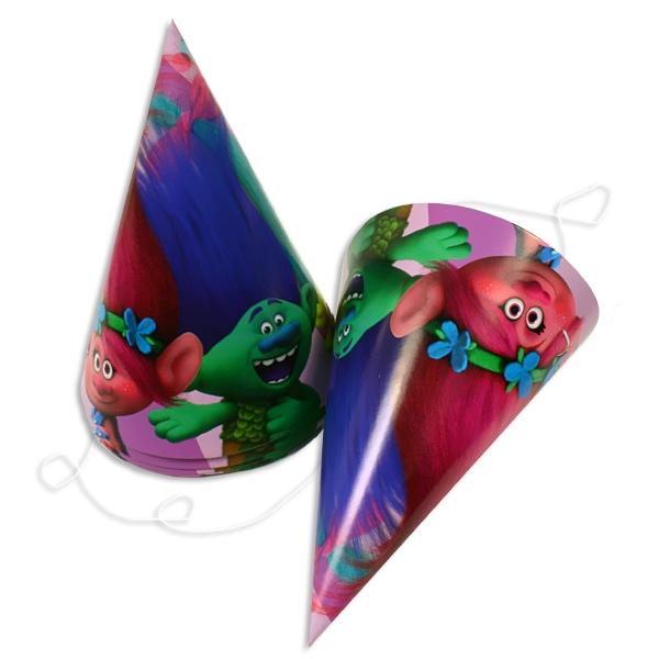 Trolls Hütchen, 6 Partyhüte aus bedruckter Pappe mit witzigem Motiv