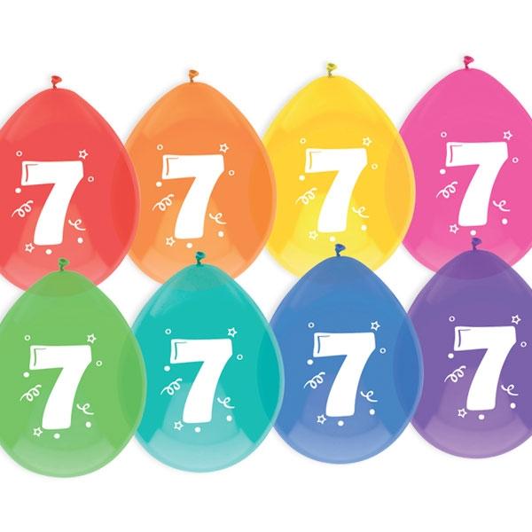 """Luftballons, bedruckt mit der Zahl """"7"""""""