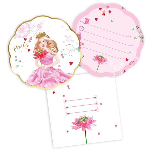 Prinzessin Einladungen, 6 Stück, für den Prinzessin Geburtstag, Pappe