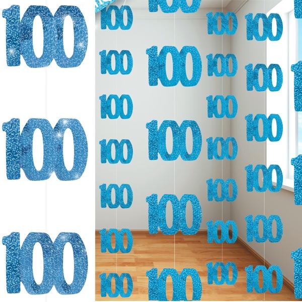 Glitzer-Deko, Zahl 100, in Blau, 6-teilig, je 1,5 m lang