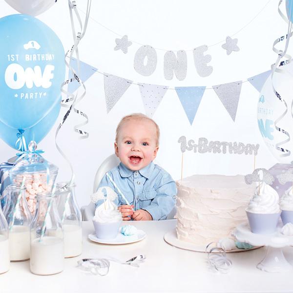 Partydekoset zum 1.Geburtstag in blau und silber, 33-teilig