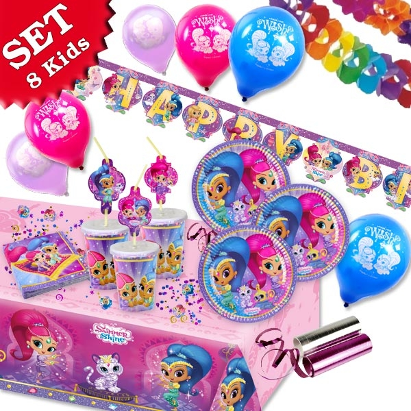 Shimmer & Shine Set, 8 Kids, 65-tlg. Komplettset für Mädchengeburtstag