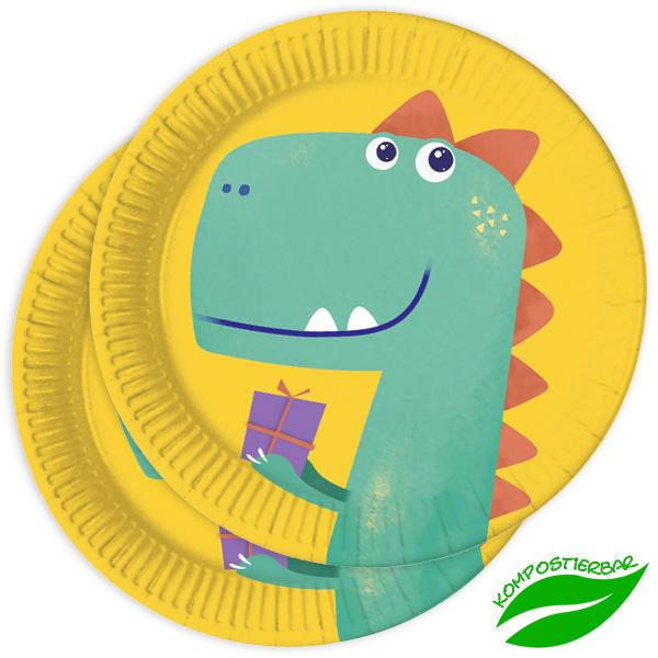 Dinosaurier Partyteller, 8 Stück, 22,5 cm, kompostierbar