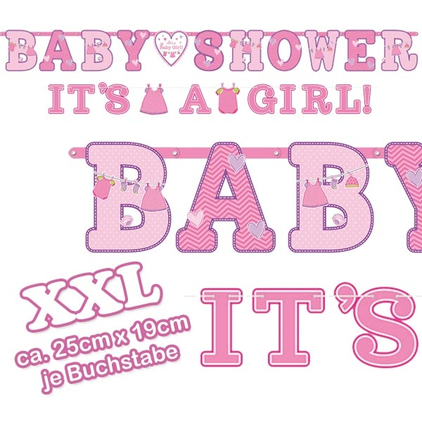 Baby Shower Buchstabenketten im 2er Pack, 2,56 m und 1,8 m, Pappe