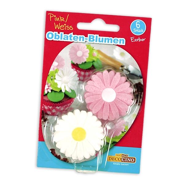 6 Essbare Oblaten-Blümchen, Esspapier-Blumen Tortendekoration
