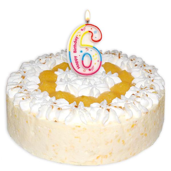 "Zahlenkerze ""6"" mit Happy-Birthday-Aufdruck"