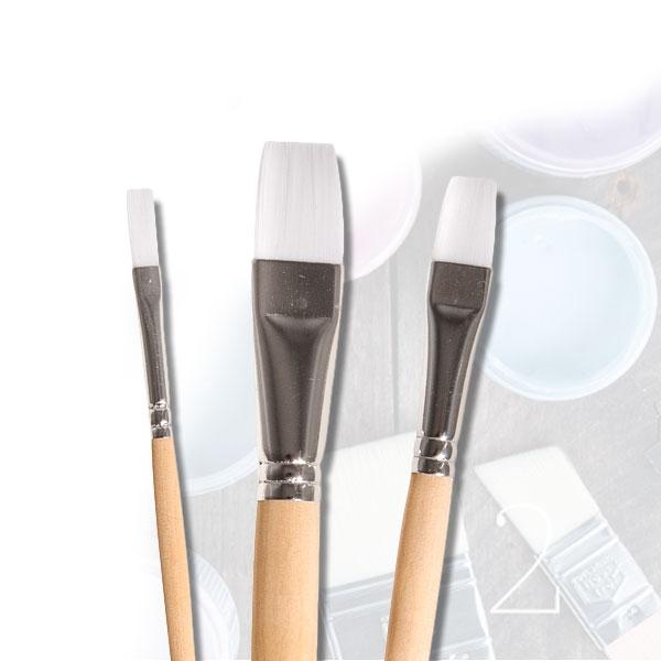 Chalky Basic Pinselset, 3er, weiche Synthetikfaser, Holzgriff, Aluzwinge, Gr. 6,12,20