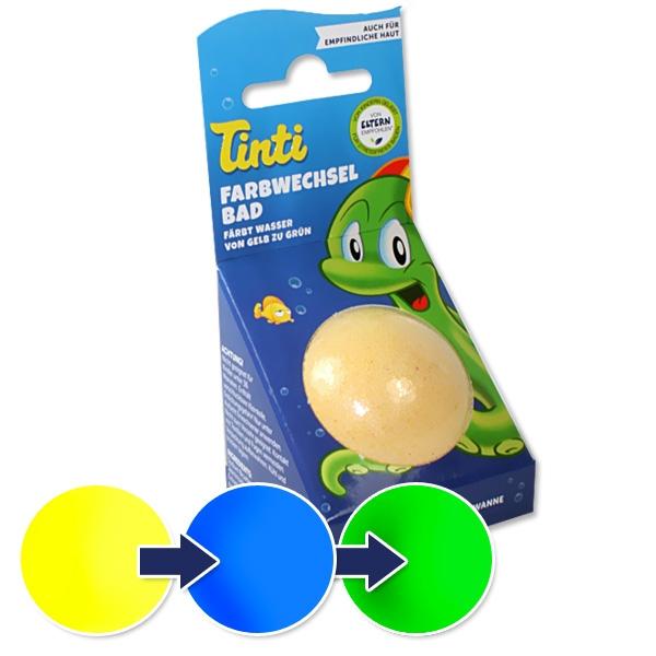 Tinti Farbwechsel-Badekugel für den Badespaß kleiner Kinder, 1 Stück