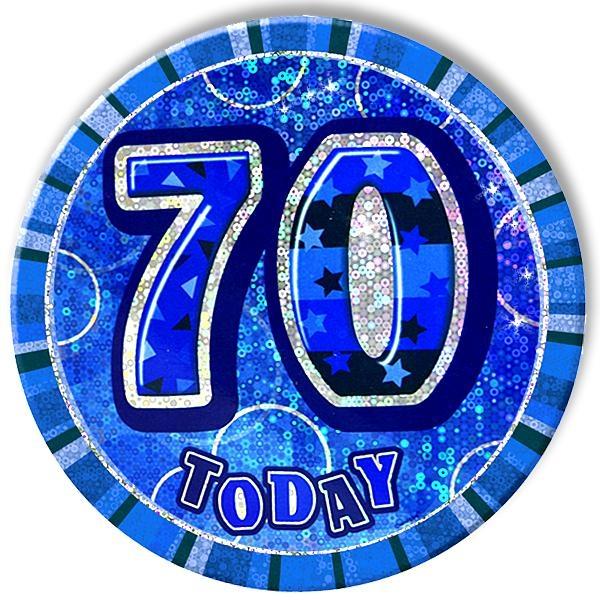 Zahl 70 als Glitzerbutton, 15cm, super Geburtstagsbutton