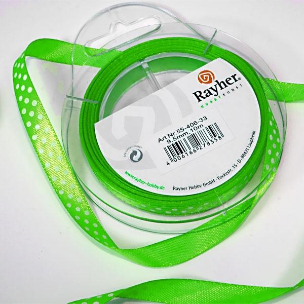 grünes Satinband, 10m, mit weißen Punkten, Seidenband zum Nähen