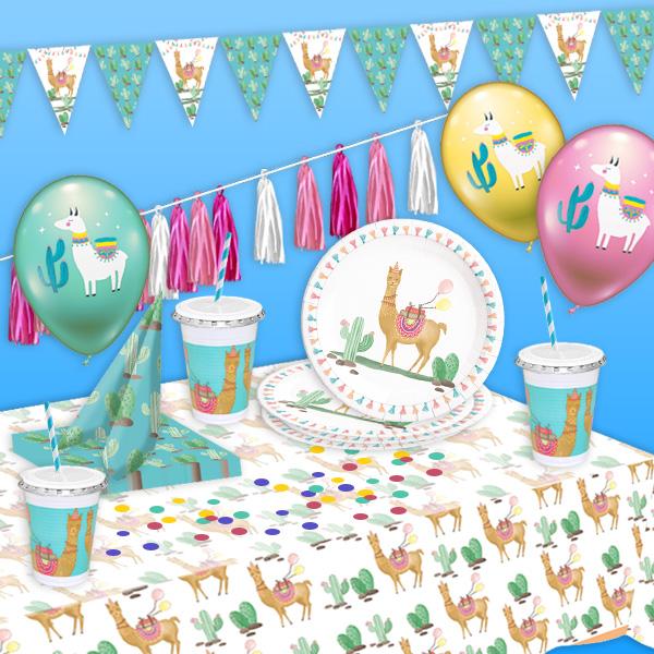Lama Partyset, 79-teilig für 8 Kids, komplette Tischdeko & Raumdeko