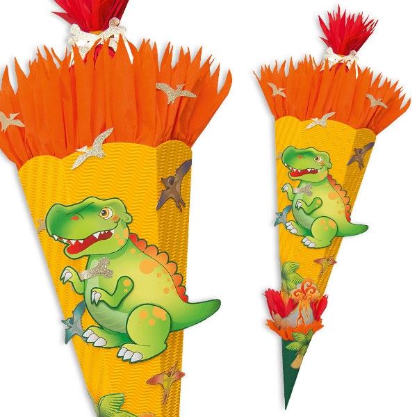 """Zuckertüte Bastelset """"T-Rex"""" für Dinosaurier-Schultüte mit Anleitung"""