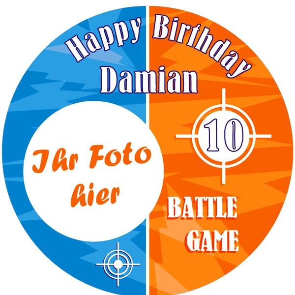 Battle Game Foto Tortenaufleger mit Name u. Alter – rund