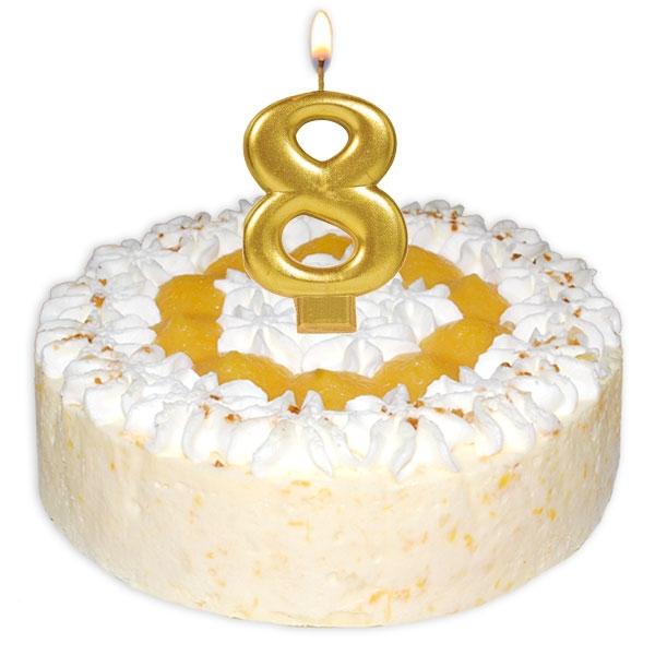 Zahlenkerze 8, große schimmernde Kerze in gold