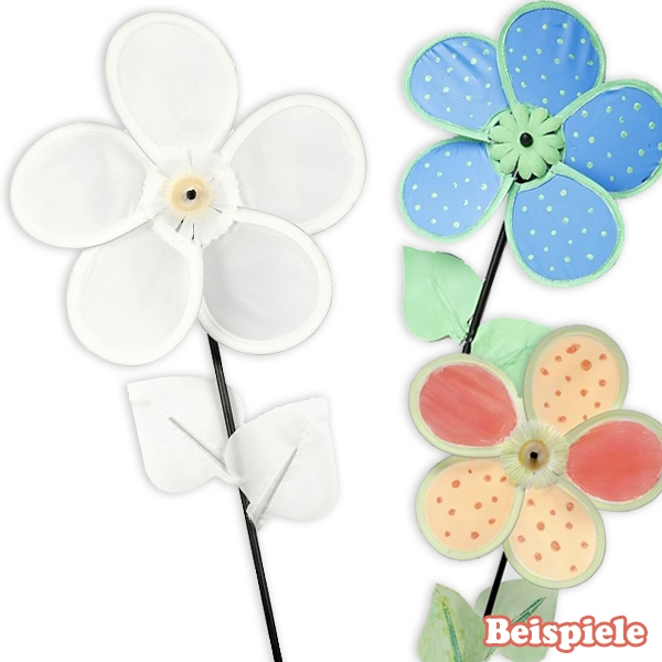 Windrad zum Bemalen - Blume, 1 Kinder-Windmühle aus Nylon, 20cm