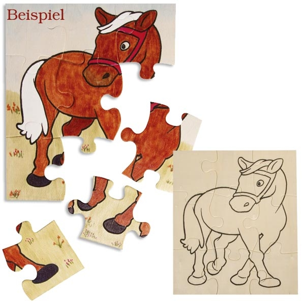 Holzpuzzle-Pferdchen 17,5 × 14,5 cm, Pferdepuzzle als Holzspielzeug, 1Stk.