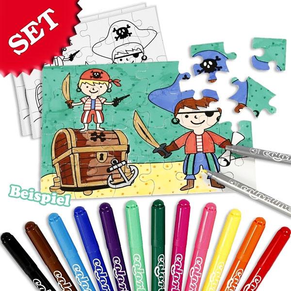Piraten Puzzle selbst gestalten, 2 Puzzle, 12 Stifte