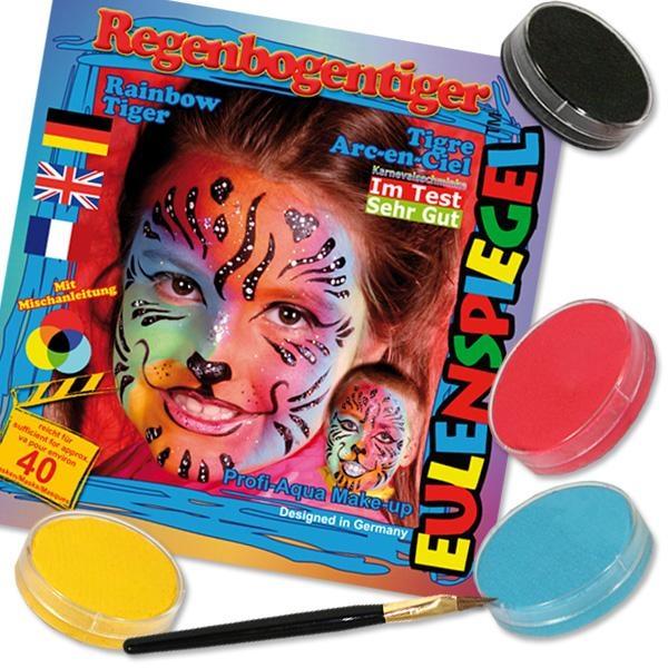 Kinderschminke-Set Regenbogen Tiger, Profi-Aqua, 4 Farben +Pinsel