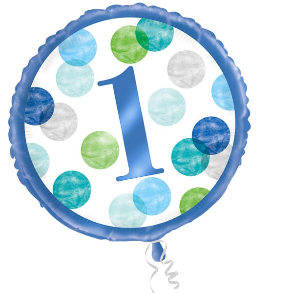 BLUE DOTS Folienballon zum 1. Geburtstag, 35cm