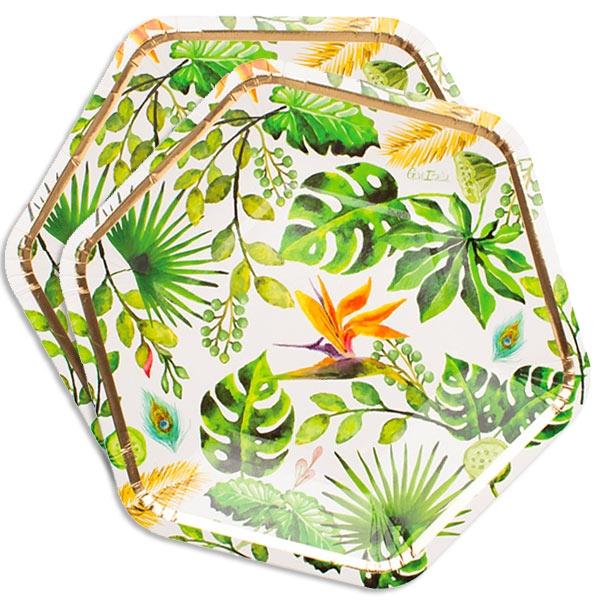 Dschungelparty 8 sechseckige Pappteller im tropischen Design, 23cm