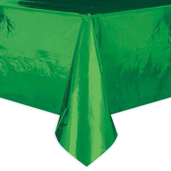 Tischdecke, metallic grün, aus Folie, wasserabweisend, 1 Stück