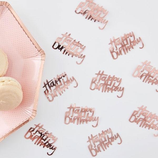 """Konfetti """"Happy Birthday"""", roségold, 14g, Tischdeko"""