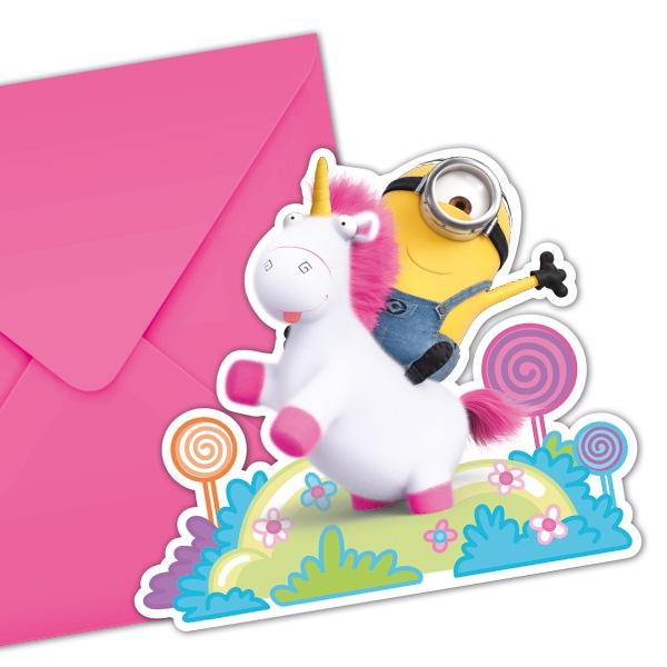 Minions Fluffy Einhorn, Einladungskarten, 6 Stück