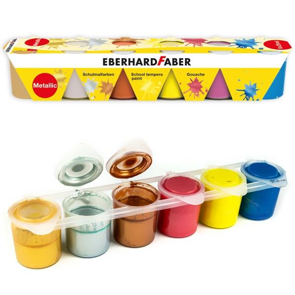 Metallic Premium Farben, 6x25ml, Schulmalfarben mit Metallic-Glanz