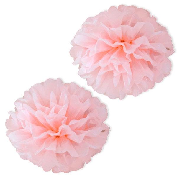 rosa Pompons aus Papier, 2 Stück, als Partydeko & Wohnzimmer-Deko