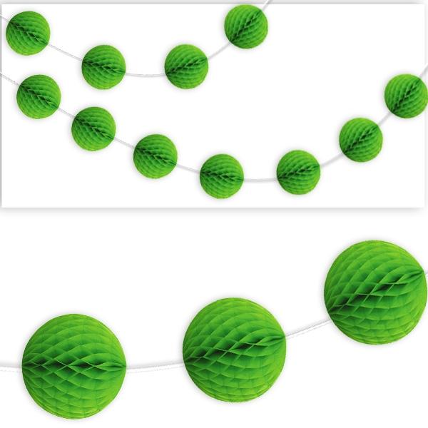 Wabenball Girlande in hellem Grün als Hängedekoration, 2,13m, 1 Stück