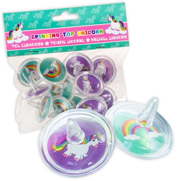 Einhorn Kreisel, 12er Pack, 3,5 cm, Einhornkreisel als Kleinspielzeuge