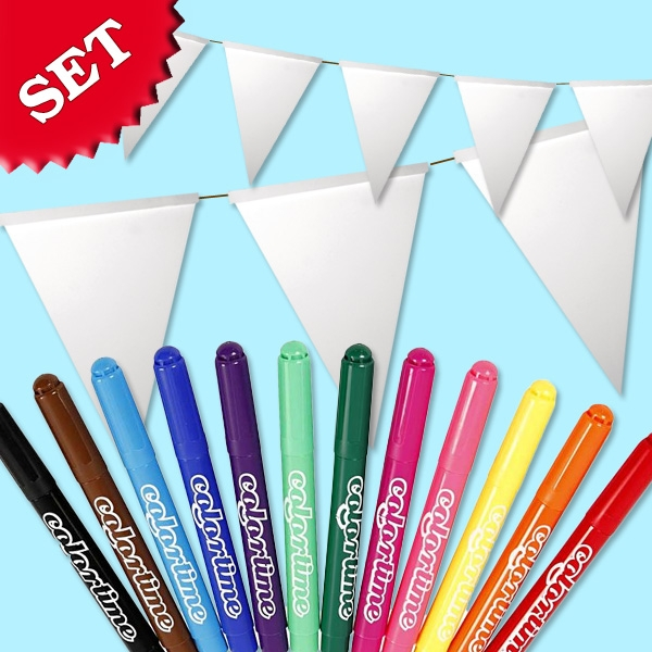 Wimpel Malset, 14 weiße Wimpel zum Bemalen inklusive 12 Colortime Stiften