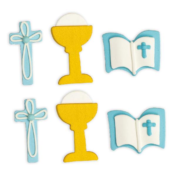 6 Zuckerdekore zur Taufe in blau, ca. 4cm