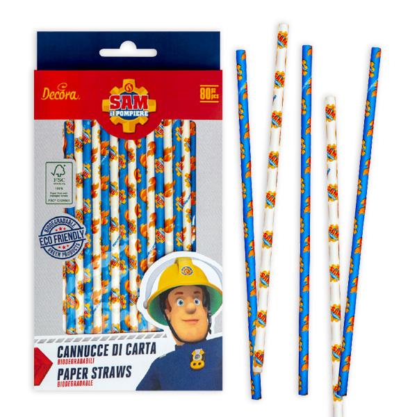 Feuerwehrmann Sam Papiertrinkhalme, 80er Pack, 21cm