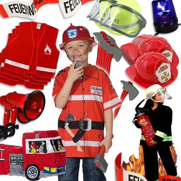 Verleihkiste Thema Feuerwehr für 7 Kinder, mit Kostümen, Spielzeug und Deko, mieten