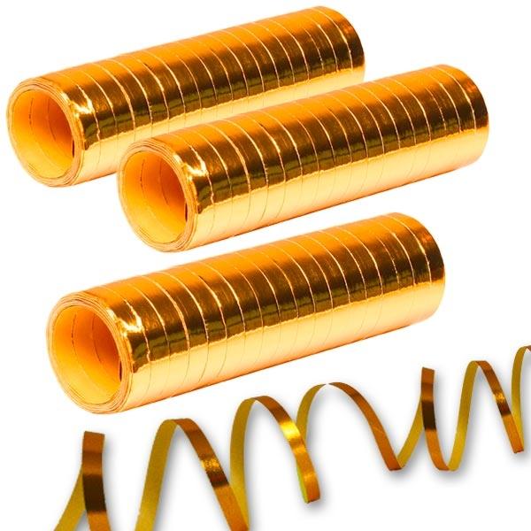 Luftschlangen Metallic golden 3er Pack, je 18 Stk. pro Rolle