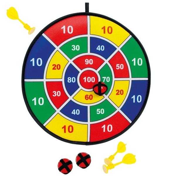 Klett-Dartscheibe, Dartspiel mit 3 Klettbällen & 3 Pfeilen im Set