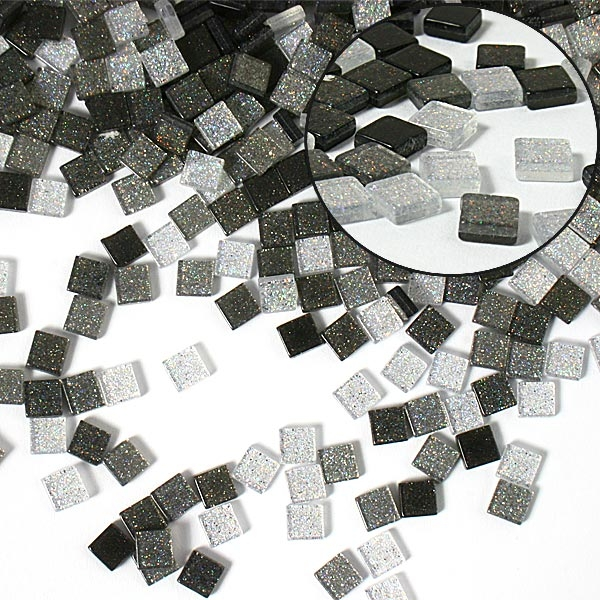 Mosaiksteine, 700 Stück, 5x5mm GLITTER MIX - grau