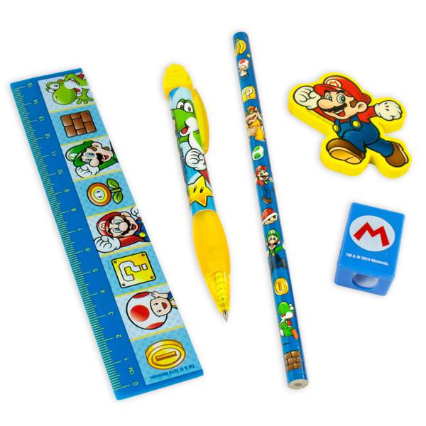 Super Mario Schreibset, 6-teilig in Aufbewahrungstasche