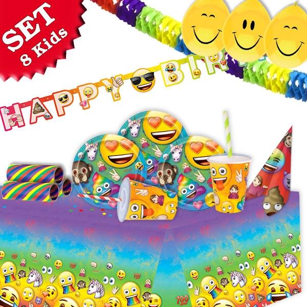 Mottoset Emoji, für 8 Kids, 73-teilig mit Partygeschirr und Raumdeko