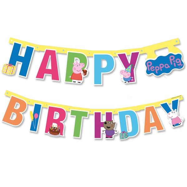 Peppa Pig Buchstaben-Girlande 1,43m Happy Birthday