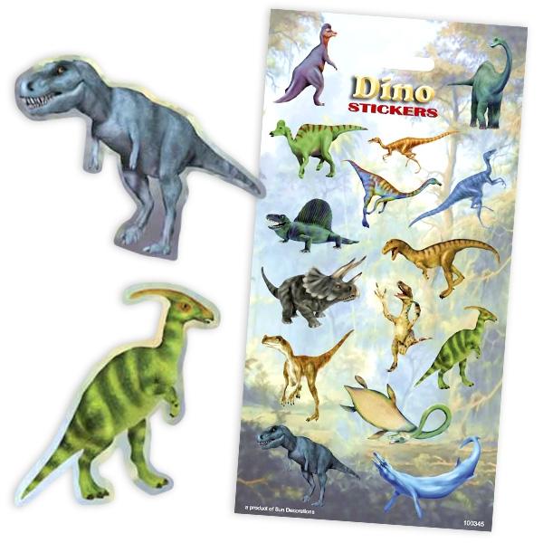 Dino-Sticker mit T-Rex und anderen Dinosauriern, 1 Bogen mit 15 Stickern