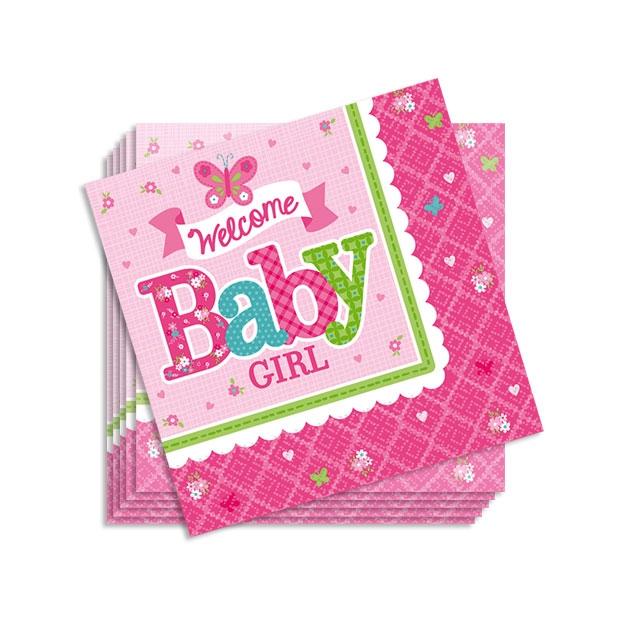 Welcome Baby Girl, kleine Papierservietten, 16er Pck, 25cm, Servietten Baby Shower