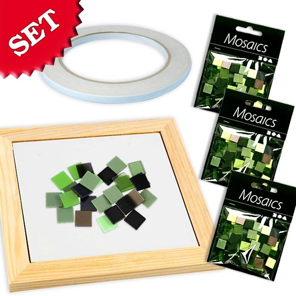 Mosaik Bastelset Grün-Mix, grüne Mosaiksteine zum Basteln im Set