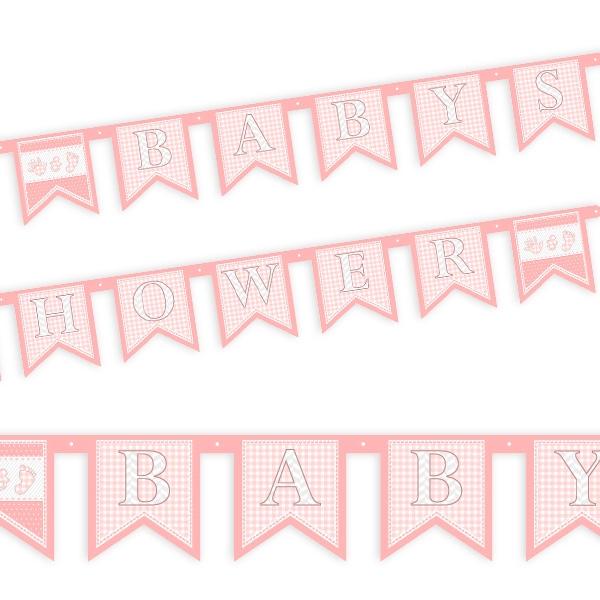 Baby Shower Girl Buchstabenkette in Rosa zur Geburt eines Mädchens, 2m
