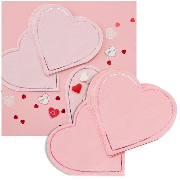 Herz Servietten, Love Party, 16er Pck, 18cm, Valentinstag / Muttertag